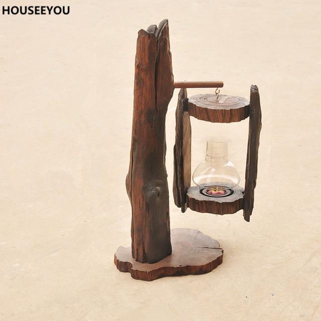 Classic Wood Sculpture Crafts Candlestick Home Decor Accessories