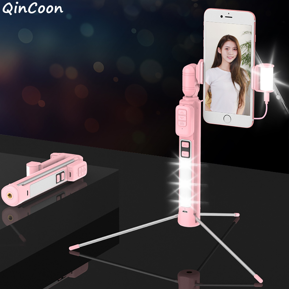Integrated Bluetooth Selfie Stick with Tripod Fill Light Portable Wireless Handheld Monopod Support Horizontal Vertical Shooting rock rot0770 selfie stick night led fill light blue