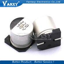 10 шт. электролитический конденсатор с алюминиевой крышкой, 25V220UF 8*10 мм SMD алюминиевый электролитический конденсатор с алюминиевой крышкой, 220 мкФ, алюминиевая крышка, 25В
