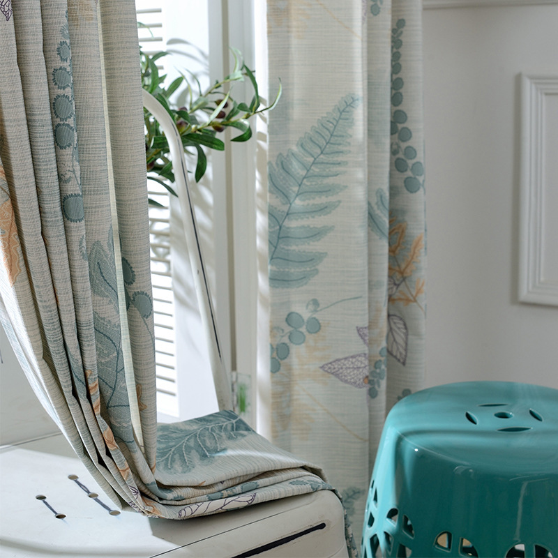 Semi Custom Drapes: Pastoral Polyester Cotton Curtains Living Room Bedroom