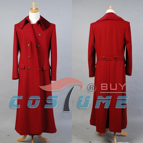 Who is Doctor Dark Red Long Trench Wool Coat Cape Halloween Cosplay Costume Custom Made For Men Free Shipping