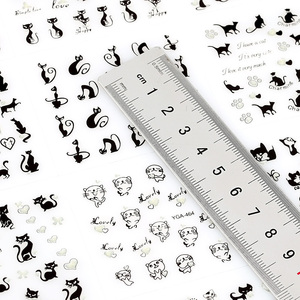 Image 4 - 12Pcs/Lot 3D Lovely Cartoon Cat Design Plastic Nail Art Decoration Stickers For Nails Manicure Rhinestones Supplies Decals JH240