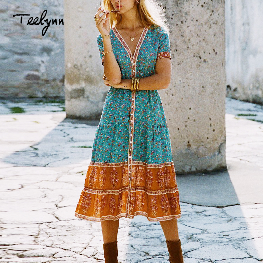 TEELYNN long boho dress 2018 autumn rayon Floral print dresses short sleeve sexy v neck dress