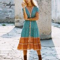 TEELYNN long boho dress 2018 autumn rayon Floral print dresses short sleeve sexy v neck dress Hippie Bohemia women dress Vestido
