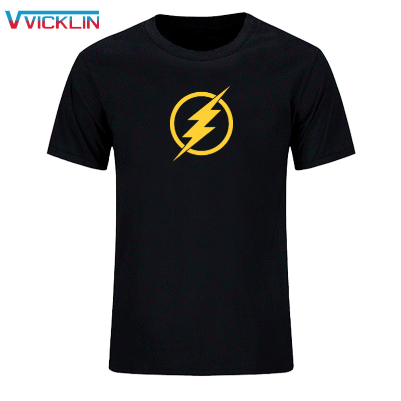 Mode Baru Kedatangan The Flash Star Labs Neon Reflektif Dicetak Mens T Shirt Katun Lengan Pendek Top Tees