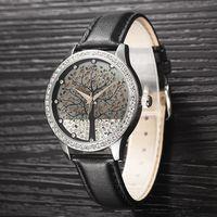Luxury Brand Women Leather Watches Tree Dial Fashion Quartz Watch Dress Wristwatch Women Rhinestone Watch QZ4056