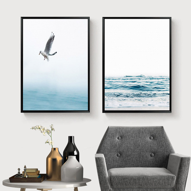 HTB1A502XynrK1Rjy1Xcq6yeDVXak Gohipang Blue Sea And Sky Nordic Landscape Canvas Painting Free Seagull Waves Beach Art Poster Living Room Decor Seabirds Wall