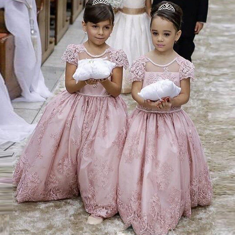 2016 New Flower Girl Dresses Little Girl Pageant Princess A Line Sheer Neck Cap Sleeve Backless Bow Blush Lace Cheap