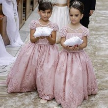 2016 New Flower Girl Dresses Little Girl Pageant Princess A Line Sheer Neck Cap Sleeve Backless