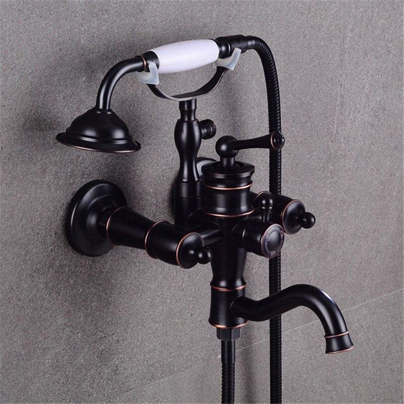 Bathtub Faucets Wall Mounted Black Oil Brushed Bathtub Faucet With Ceramic Handle Shower Bathroom Bath Shower