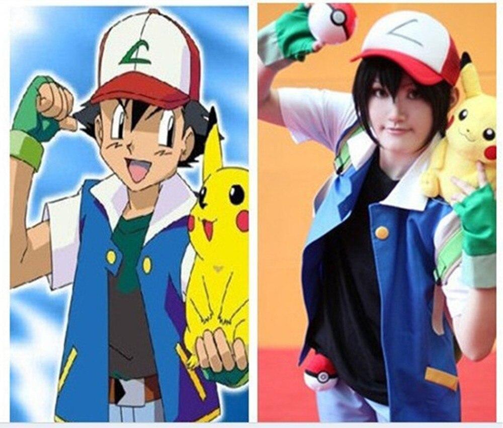 Alta Calidad Azul Pokemon Ash Ketchum Trainer Cosplay Chaqueta ... d7ebcafd2df9
