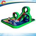 7.5*5 m encerado do pvc da classe comercial gigante grande escorrega inflável com piscina para crianças