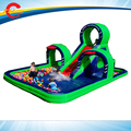 7.5*5m commercial grade pvc tarpaulin  giant large inflatable water slide with pool for kids