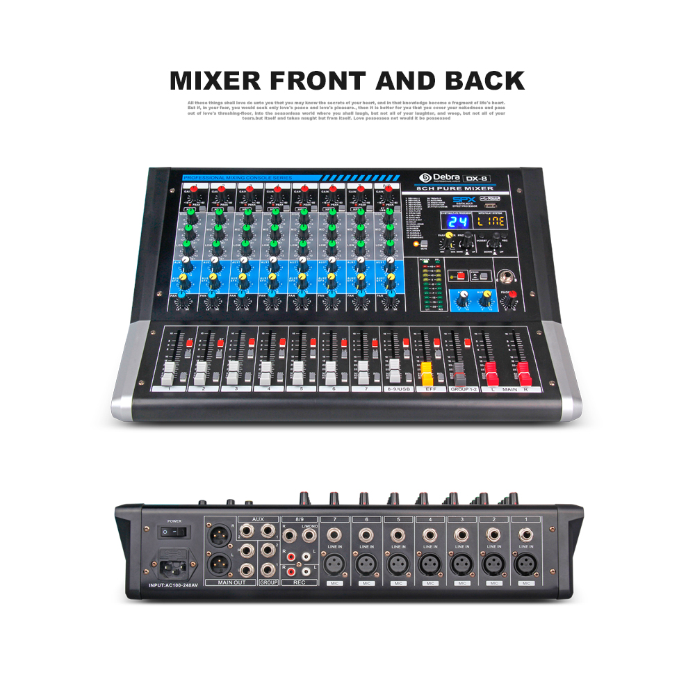 US $199 0 |Debra Audio DX 8 8 Channel Audio Mixer dj controller Sound Board  with 24 DSP Effect USB Bluetooth XLR Jack Aux Input-in DJ Equipment from