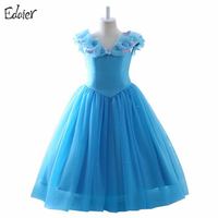 Sky Blue 2017 Flower Girl Dresses For Wedding Sleeveless Organza Girls Pageant Dresses Party Evening Gowns