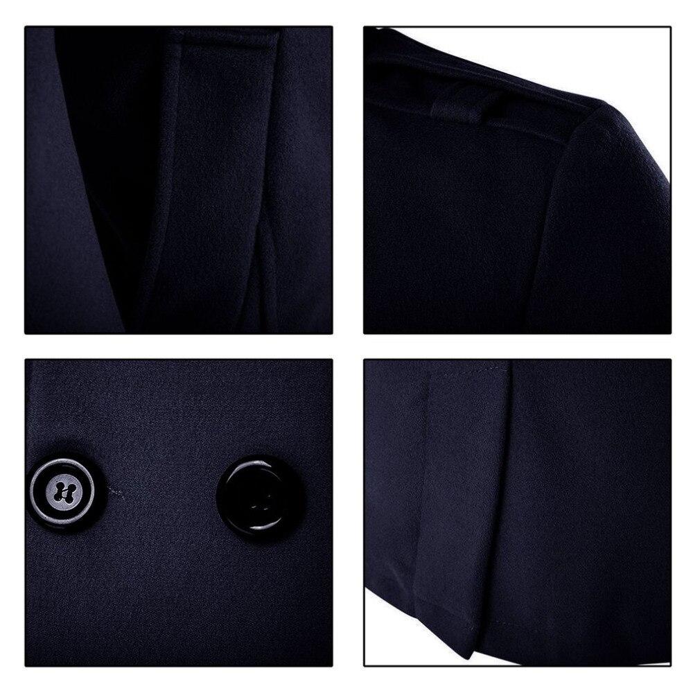 D'affaires Hiver Chaleur gris À Zipper Tissu Automne De Boutonnage Laine 2017 Pardessus Coupe vent Hommes Homme Double Design Nouveau bleu Noir Manteau Eqx1nZ0vOw