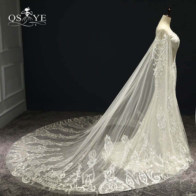 1e8f6893cb8 2018 New Luxury Wedding Dresses with Cape Sexy Transparent V Neck Lace  Beaded Tulle Bridal Dress