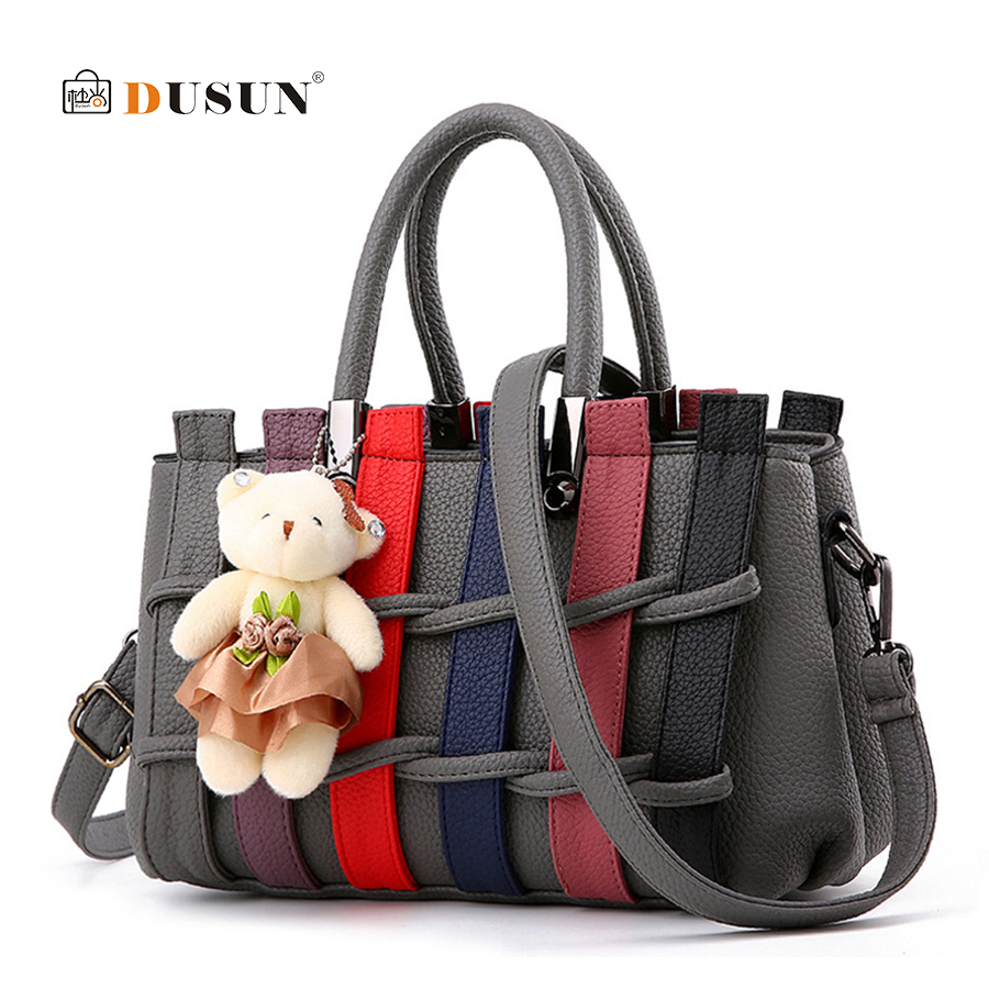 DUSUN Women Bag Casual Tote Bags Vintage Handbag Women Shoulder Messenger Bags Panelled Top-Handle Purse Wallet Leather Lady Bag 3 pcs set vintage handbags women messenger bags female purse solid shoulder bags office lady casual tote new top handle bag