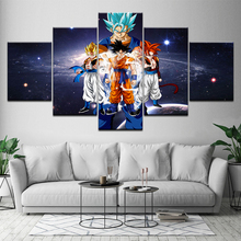 Home Decor Wall Art Canvas Frame Room Poster 5 Panel Modern Abstract Oil Painting Cartoon Dragon Ball Characters Picture Artwork
