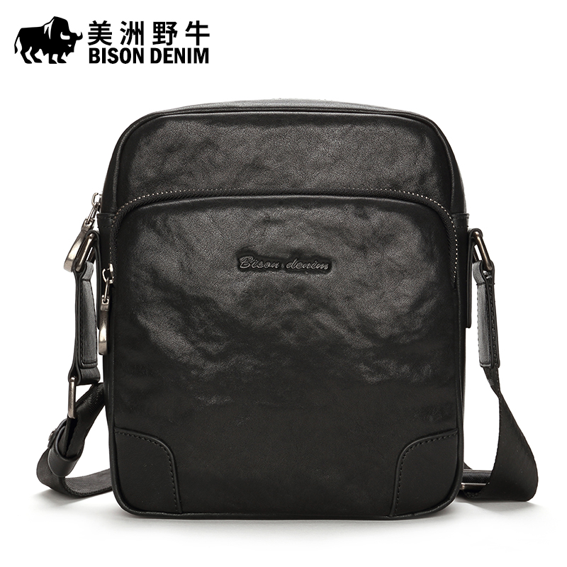 2017 BISON DENIM Brand Men Shoulder Bags Genuine Leather Briefcase Business Casual Handbag Men's Messenger Travel Bag Free Ship padieoe men shoulder bags genuine leather briefcase brand men s messenger bag business casual travel crossbody bags free ship