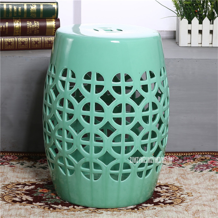 Home Furniture Modern Style 45cm Height 32cm Dia Hollow Out Ceramic Low Drum Stool Dressing Chinese Ceramic Home Decor Living Room Makeup Stool Easy To Lubricate