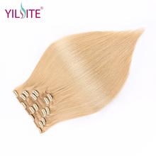 YILITE Double Drawn Remy Human Hair Clip in Hair Extensions 7pieces European Hair Clip in Hair Extensions 14inch-16inch 8 Colors