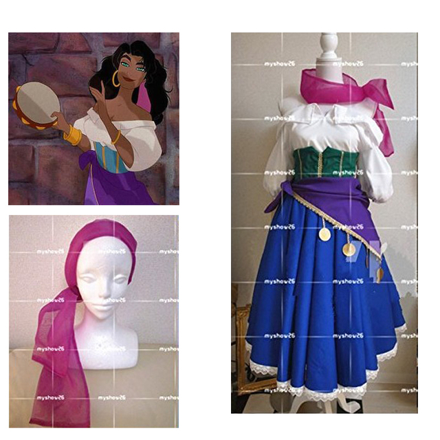 2016 esmeralda fancy dress the hunchback of notre dame adult women halloween cosplay costume