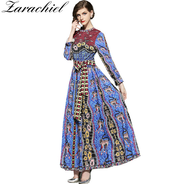 ddd2691b25926 Zarachiel Summer 2019 Designer Runway Maxi Dress Plus Size Women's Sashes  Long Sleeve Leopard Floral Print Vintage Long Dress