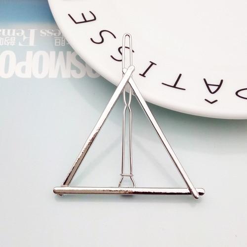 Fashion Geometric Mental Hairpins for Girls Triangle Moon Hair Pin Lip Round Star Hair Clip for Women Barrettes Hair Accessories 7