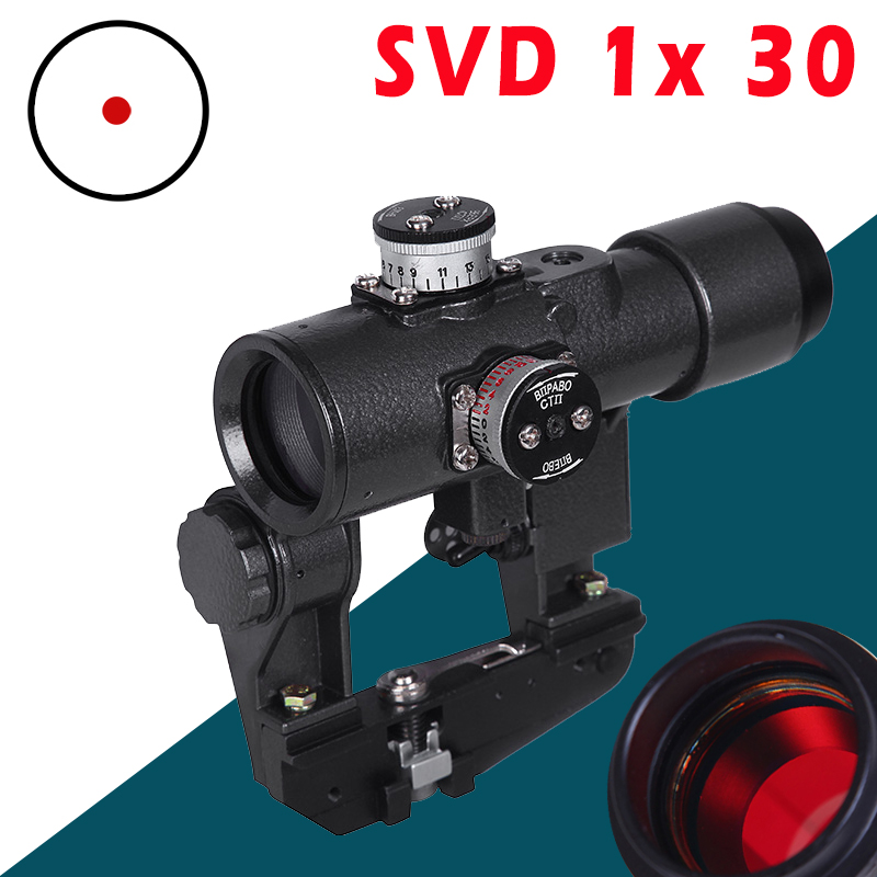 Sniper SVD 1x 30  Red Illuminated Hunting Riflescope Glass Reticle Tactical Optics Sights Shooting AK Rifle Hunting Shooting
