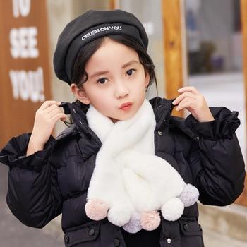 2018 Winter cute Children Scarf Boy Girls Scarves Baby Imitation Rabbit Fur Collar Scarf With pompom Neck Warmers