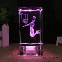 K9 Crystal Cube Figurine basketball star Kobe Bean Bryant model crystal ornaments fans gift 3D Laser Engraved Crafts
