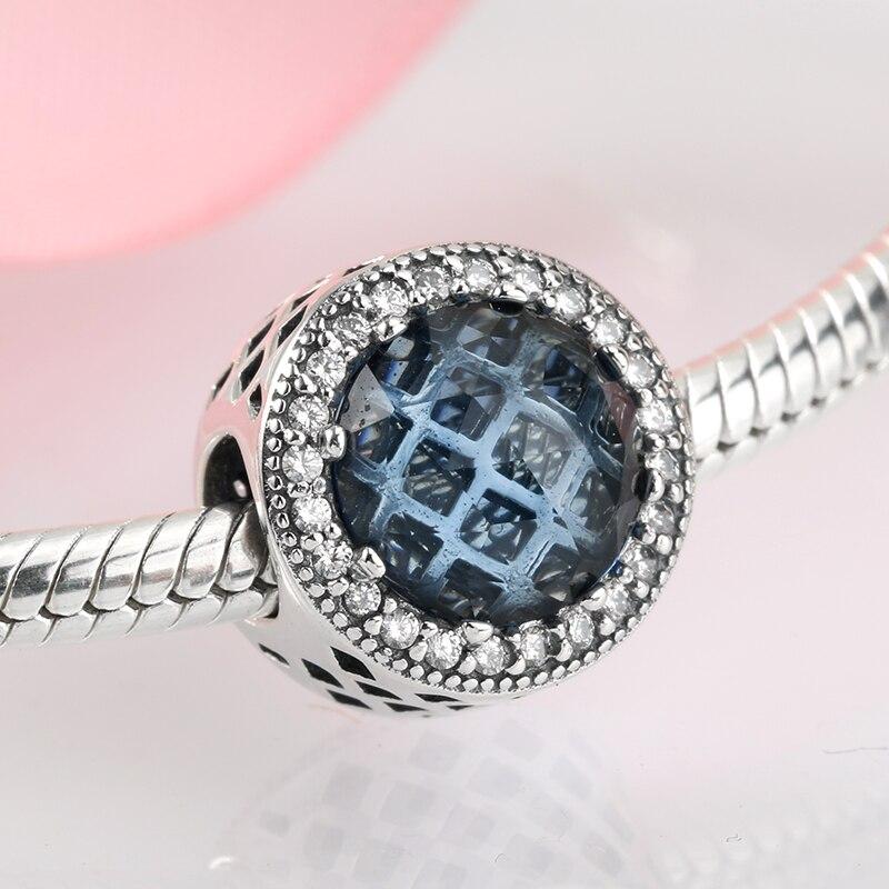 BAMOER S925 Sterling silver Charm Moonlight night /& Blue CZ For bracelet Jewelry