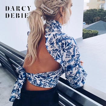 2020 Summer Floral Open Back Sexy Crop Blouse Women Turtleneck Lantern Sleeve Backless Short Bloused Lace Up Ladies Blusas