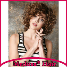 Medusa hair products: Synthetic lace front wigs for women Beautiful shag styles medium length curly Mix color pastel wig SW0276B