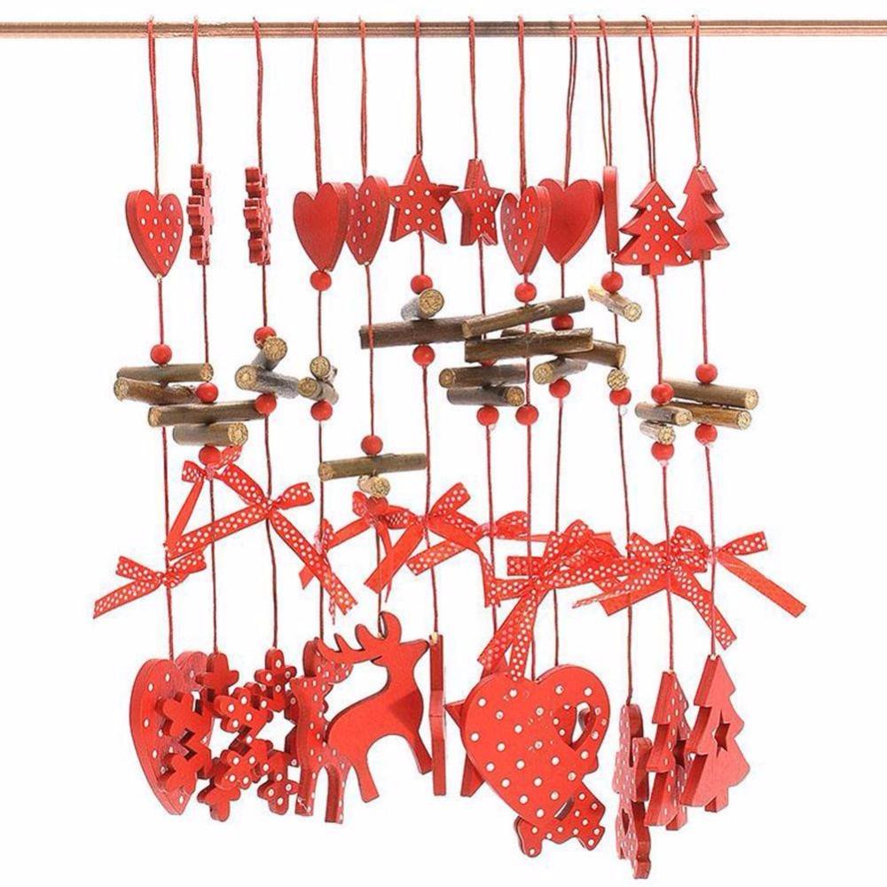 unids de madera ornamento de navidad de navidad rbol de adorno cadena colgante tallado
