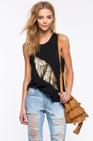 Gold Leaf 2016 Black Women Tanks Tops Summer Sleeveless Cotton O Neck Casual Printed Vest Female