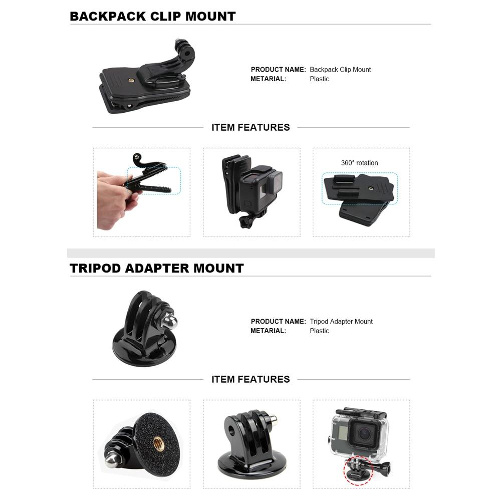 Para GoPro conjunto de accesorios para Go Pro Hero 7 6 5 4 3 kit trípode Selfie Stick adaptador de montaje para xiaomi Yi 4K Lite SJCAM SJ7 Eken H9 - 6