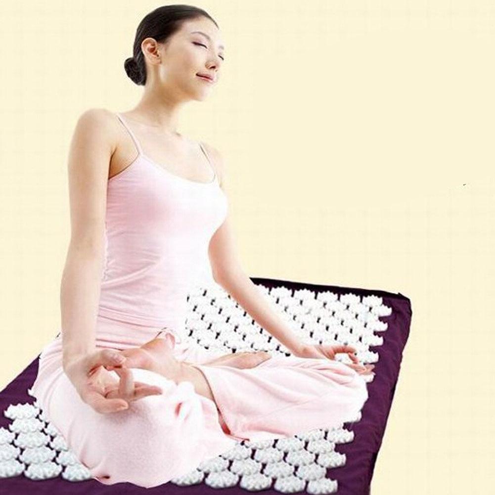 Purple <font><b>Yoga</b></font> Mat Massager Massage cushion Acupressure Mat Relieve Stress Pain Acupuncture Spike <font><b>Yoga</b></font> Mat pin pad/<font><b>yoga</b></font> mat