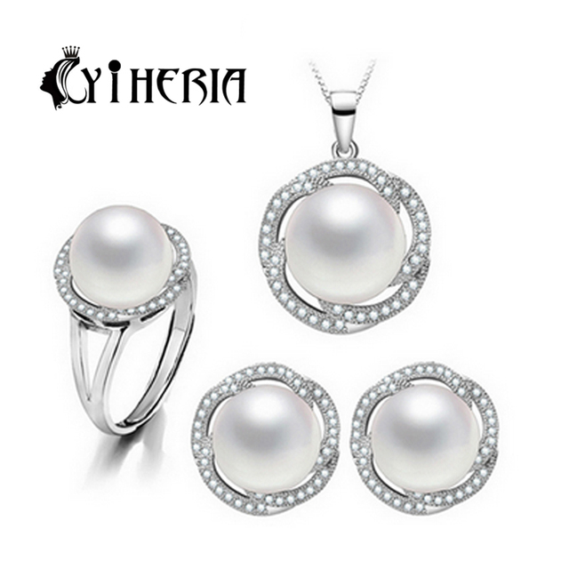 CYTHERIA природной жемчужиной, ювелирных изделий 925 серебряный жемчуг кулон ожерелье и серьги для женщин Девушки с подарочной коробке