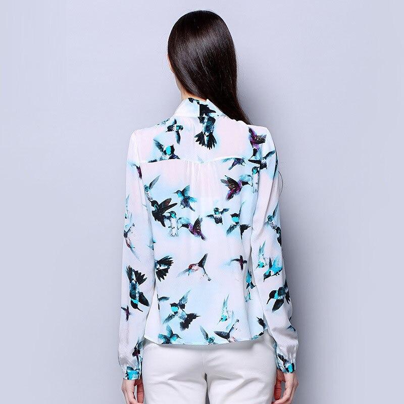 100 Crepe Llegada Nueva Señora Seda Pura De Animal Azul Tela Camisa Pájaro Impreso Mujer Natural Manga Color Larga Oficina qFRqnrx48