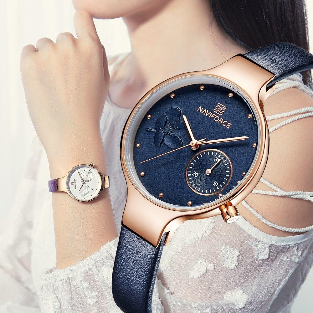 NAVIFORCE De Luxe Marque Mode Femmes Montres Dames Robe Simple Horloge Bleu En Cuir Quartz Montre relogio feminino Nouvelle Année cadeau