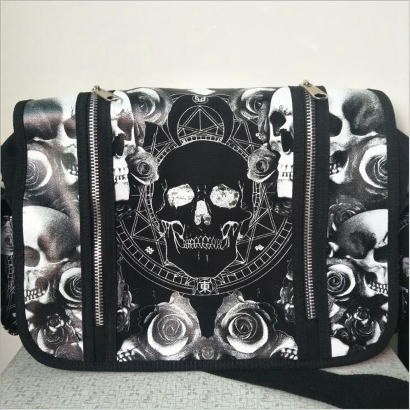 Men Women Unisex Mica Skulls Roses Black & White Illuminati Gothic Waterproof Shoulder Cross Messenger School Work Bag illuminati подвесная люстра illuminati md112801 10a