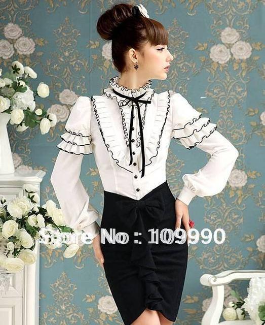 Palace retro bubble sleeve stylish elegant noble OL flounce modified women lady slim Blouse tuxedo top Shirt 2013 NEW fashion