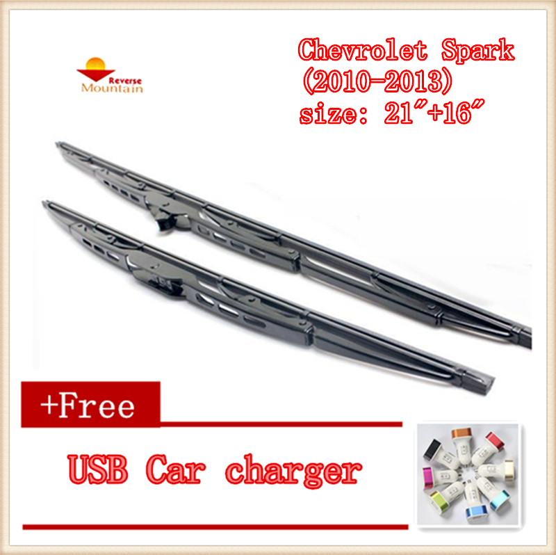 "2pcs/lot Car Windshield Wiper Blade U-type Universal For Chevrolet Spark (2010-2013),size: 21""+16"" Shrink-Proof"