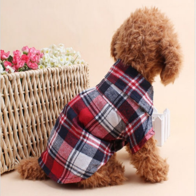 Dog Shirts Plaid England Style Dog Clothes Blouse Tops Shirts Summer Autumn For Pet Puppy Dogs Cats Clothes