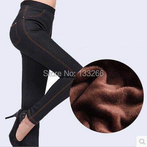 Autumn winter plus velvet thick leggings women Imitation Denim plus size XXXL cotton trousers High elastic waist women's pants