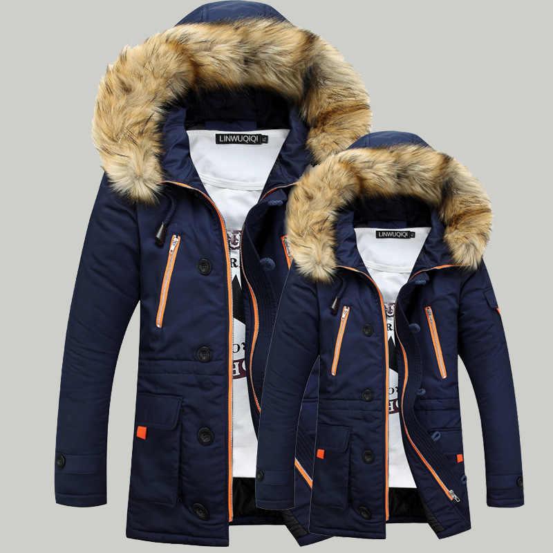 Утепленные парки, зимняя куртка, мужские пальто, мужская верхняя одежда размера плюс, повседневное длинное пуховое хлопковое стеганое Мужское пальто с капюшоном