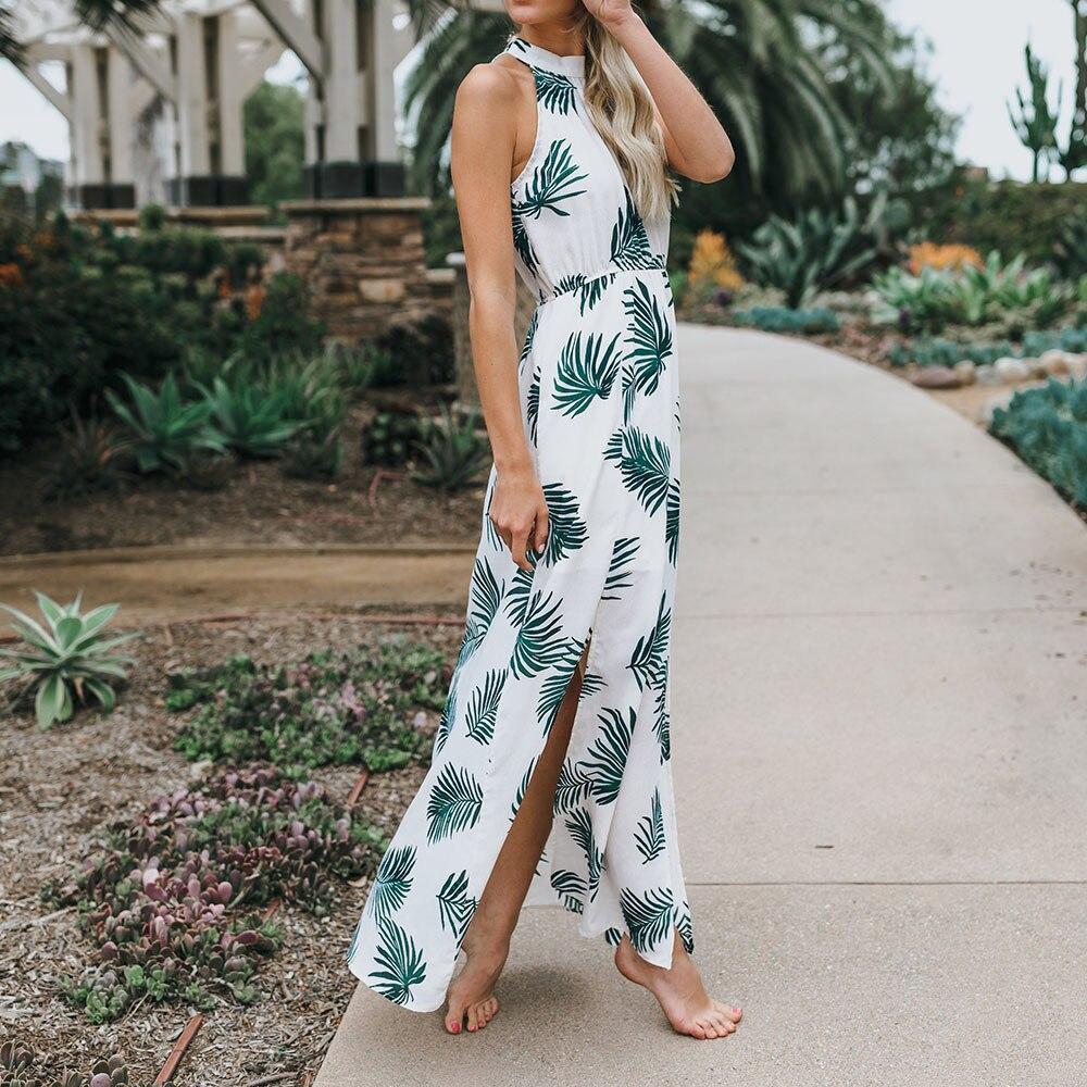 Summer Beach Sundress Womens Leaves print Long Maxi Dress Sleeveless vestidos verano 2018 Beach Sundress Women Summer Dresses