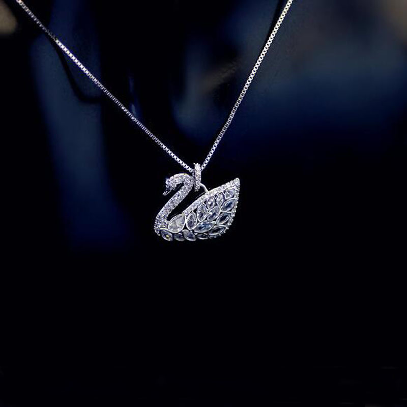 Sparkling Crystal SWAN Necklace 316L Stainless Steel Statement Chain Pendant Necklace Women Jewelry Charm Accessories MJNF0036